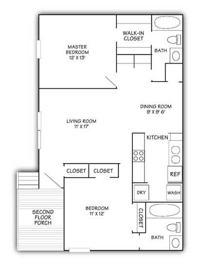 Woodwinds Two Bedroom Floor Plan